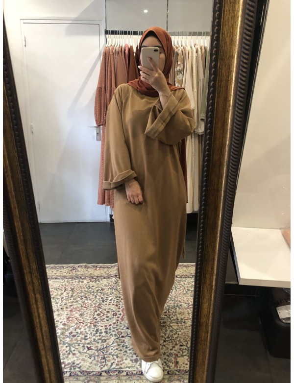 Robe basic coton camel
