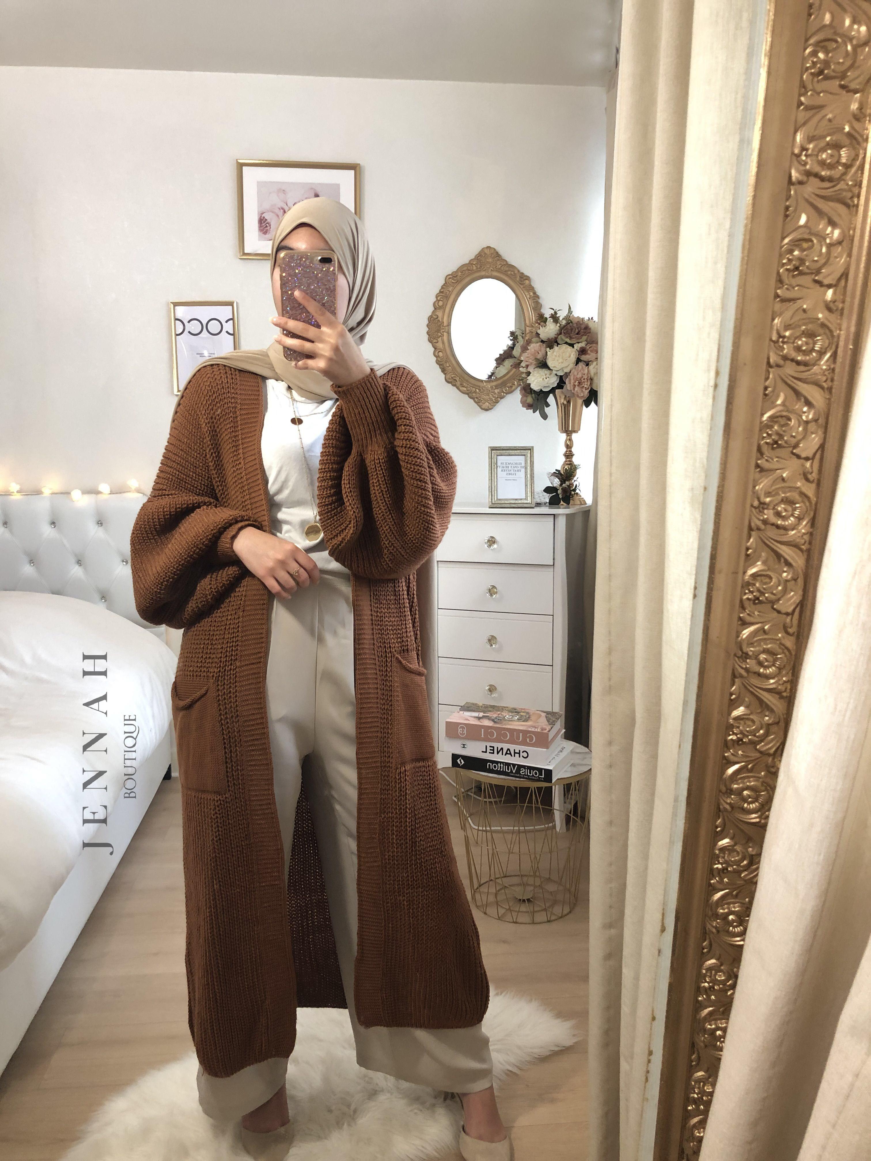 Gilet large maille camel