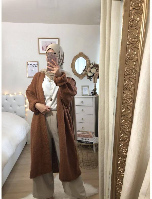 Gilet maille camel