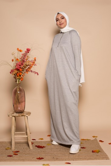 Robe zippy gris clair