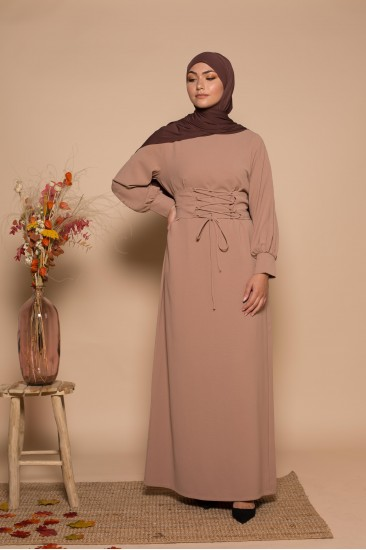 Abaya corset beige