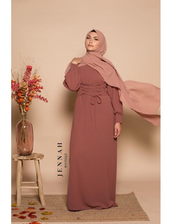 Abaya corset vieux rose