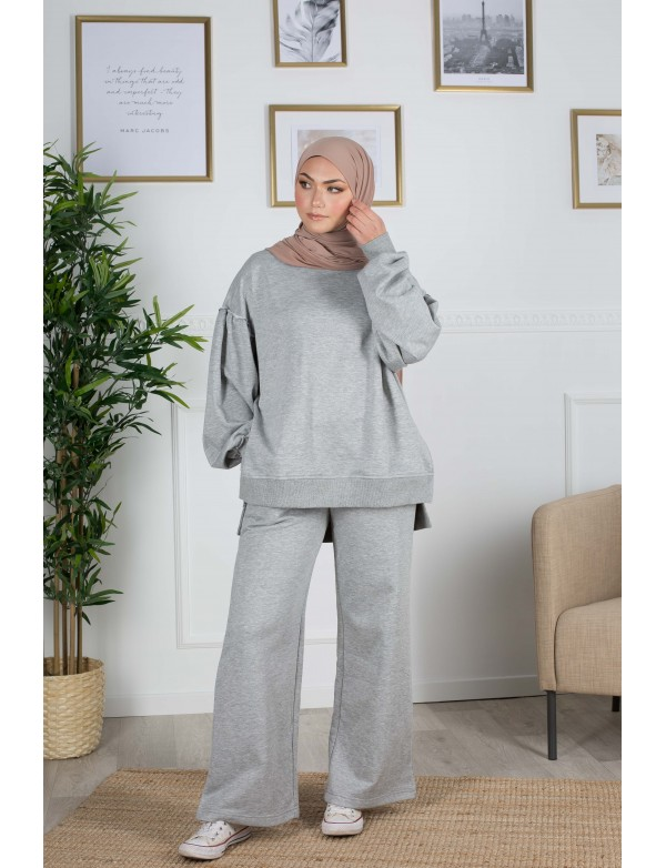 Ensemble sweat gris clair