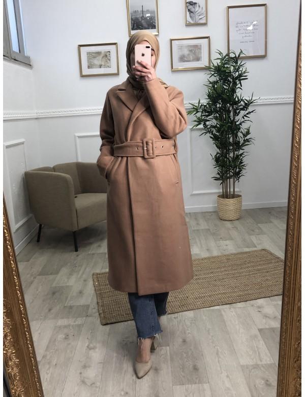 Manteau droit camel