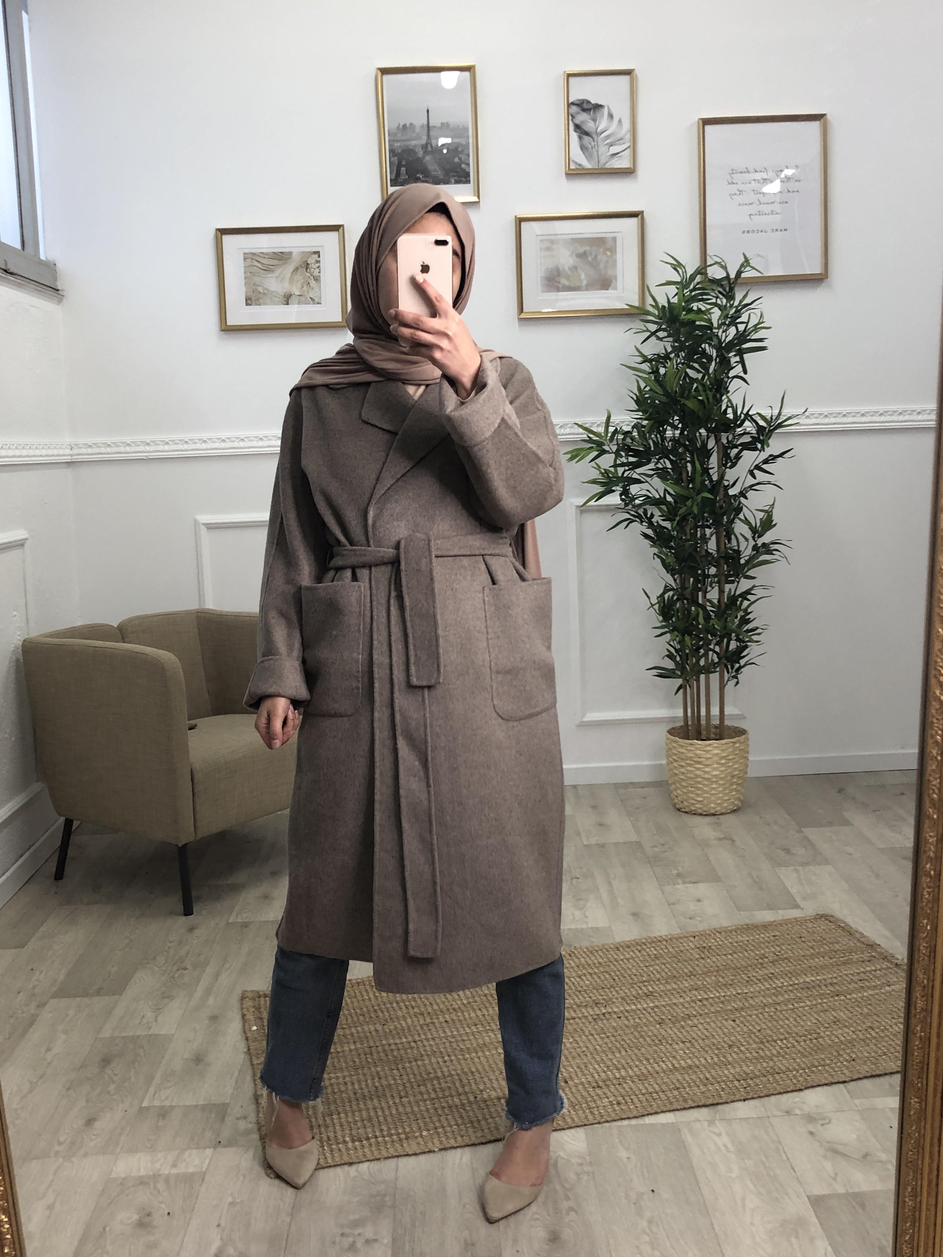 Manteau laine chataigne