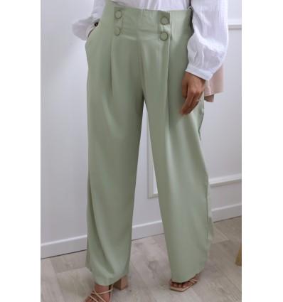 Pantalon large vert eau