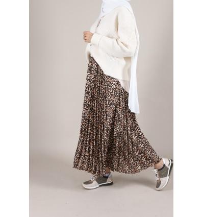 Jupe plissée leopard