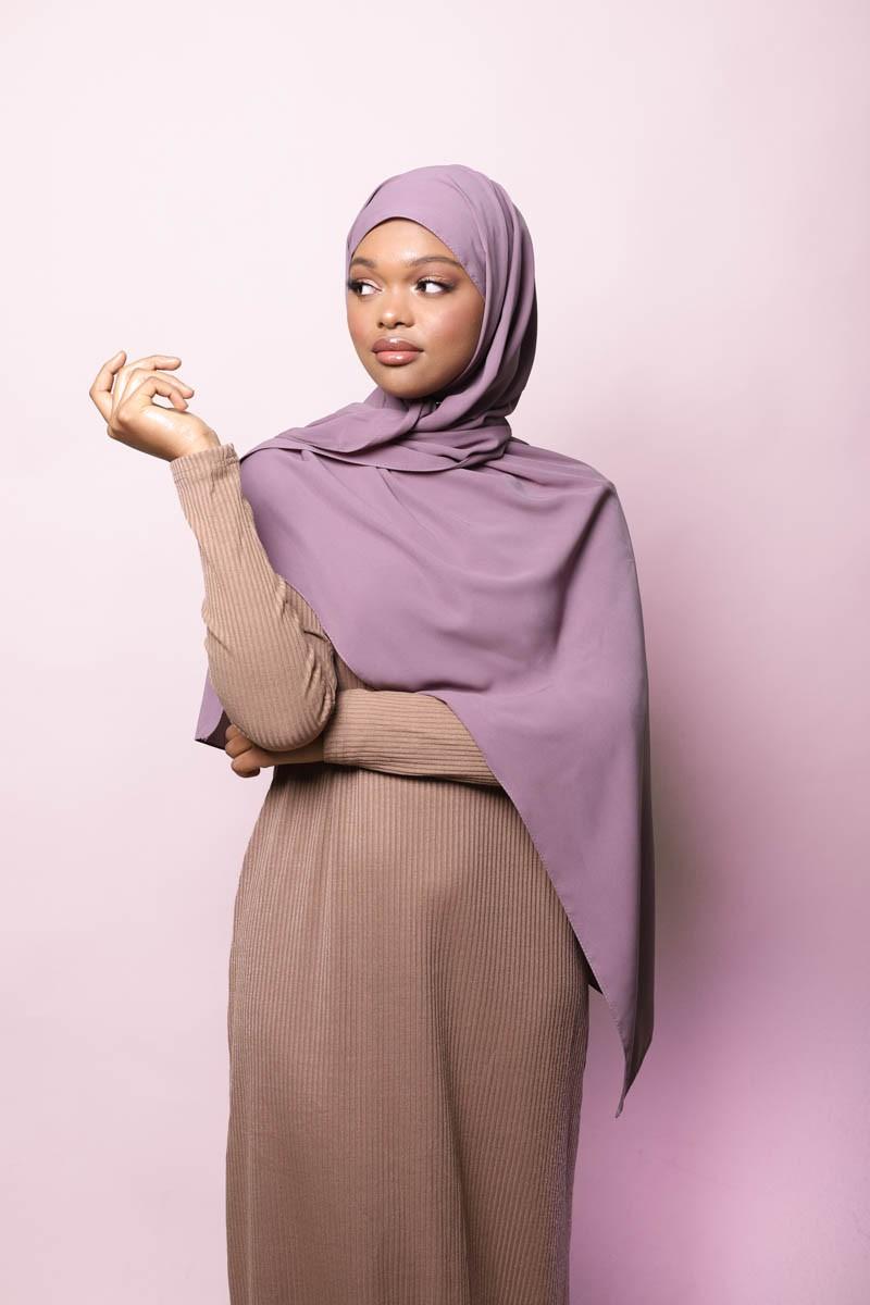 Hijab soie de medine mauve