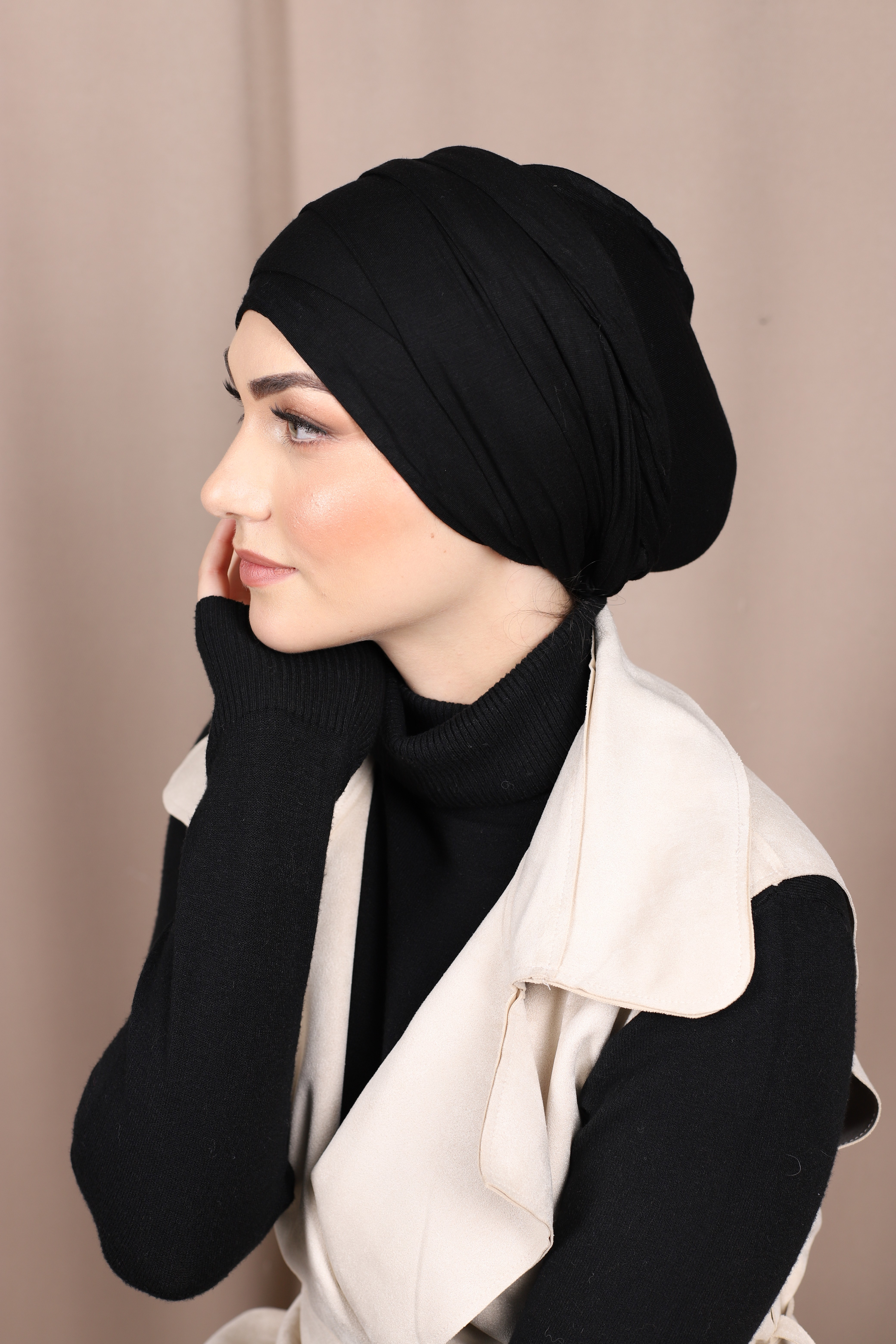 Turban à enfiler noir