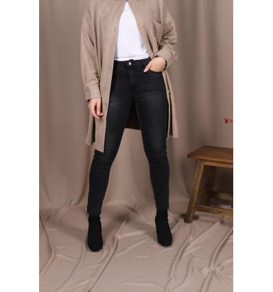 Jean skinny gris zippé