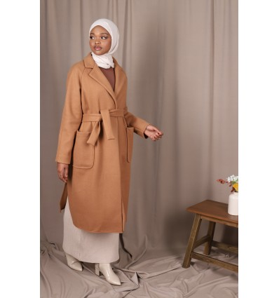 Manteau croisé camel