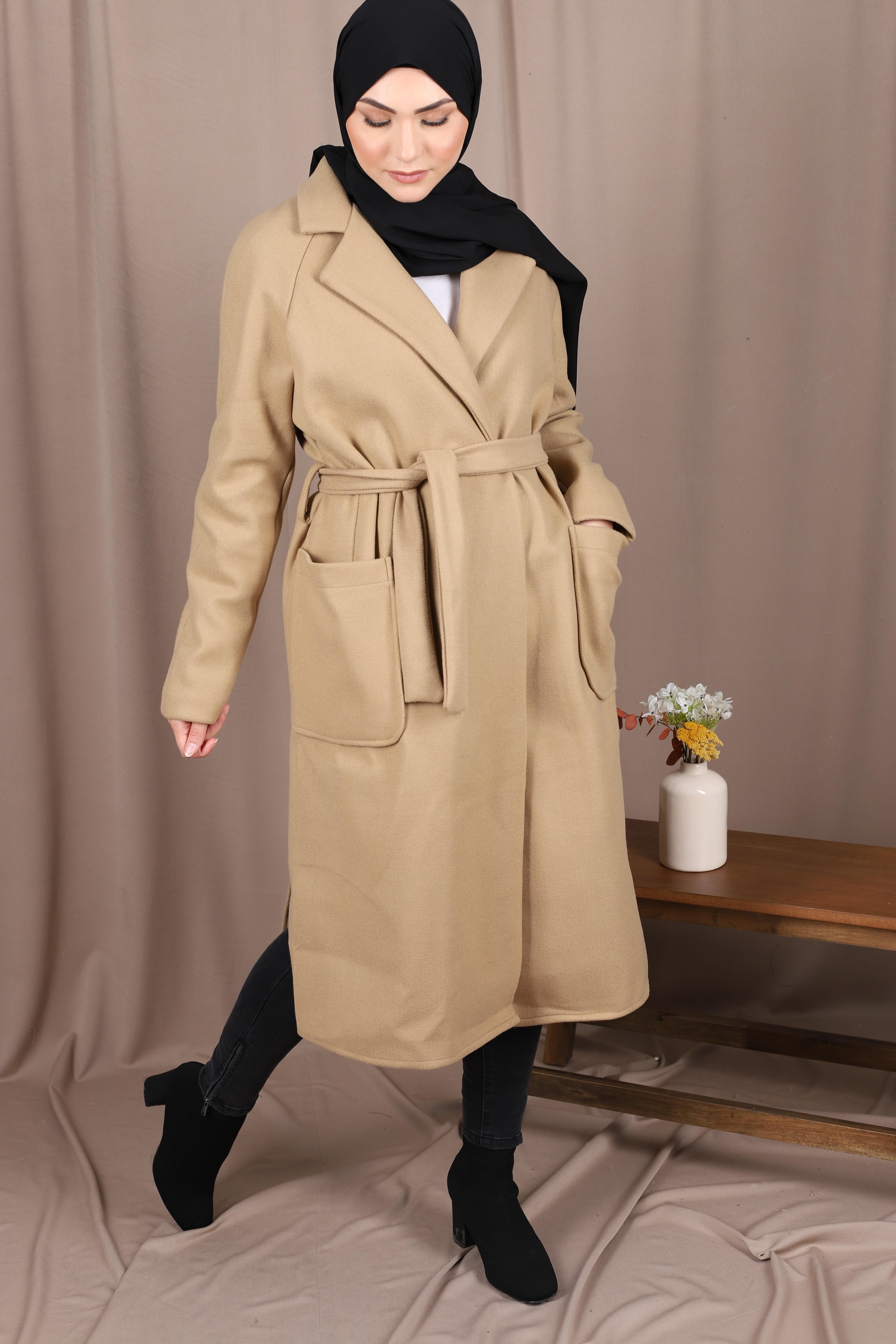 Manteau croisé beige