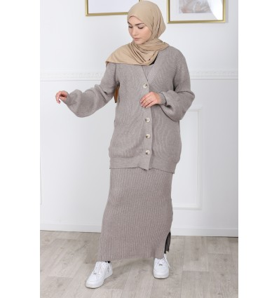 Ensemble robe maille taupe