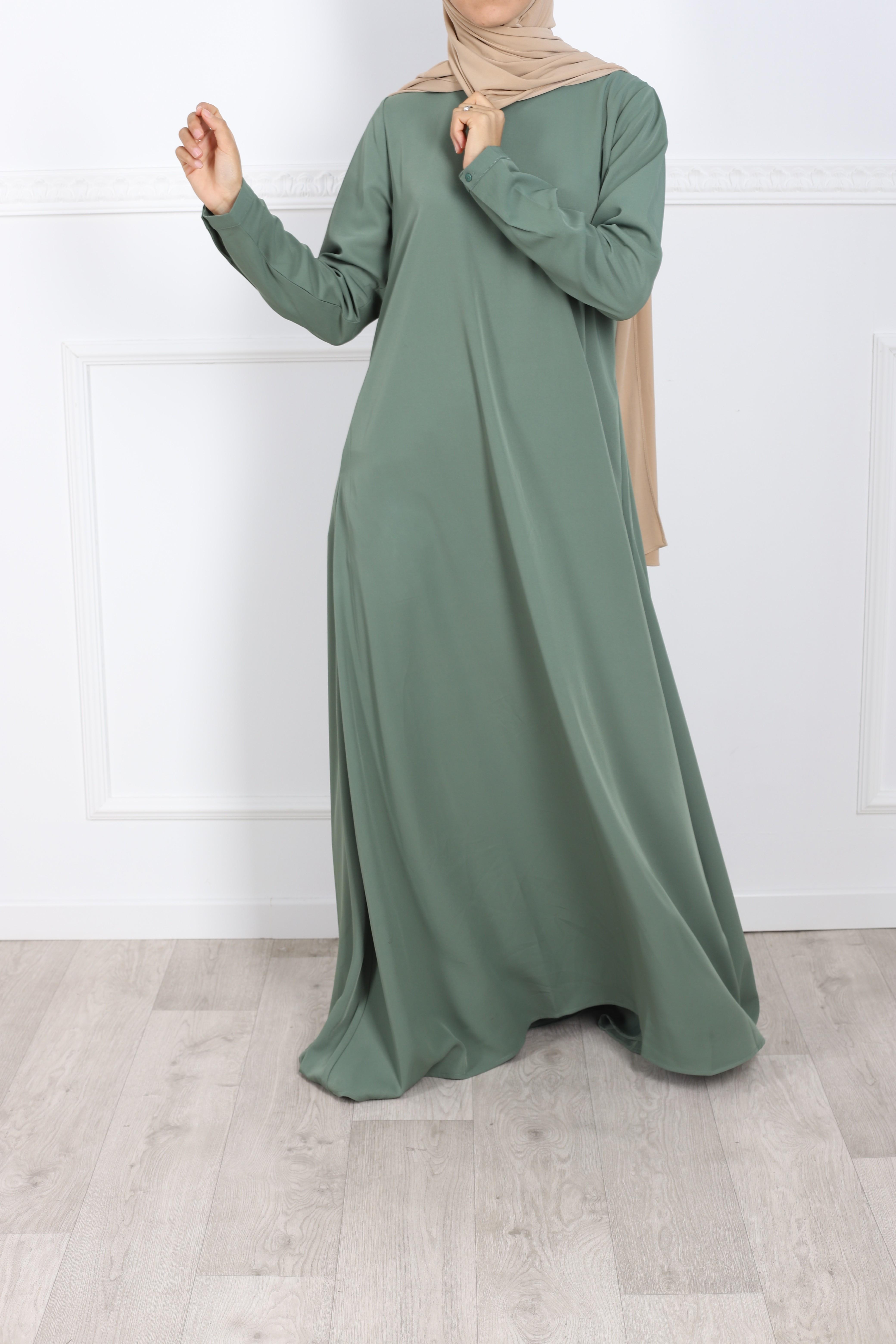 Abaya evasée vert