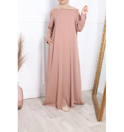 Abaya evasée guimauve