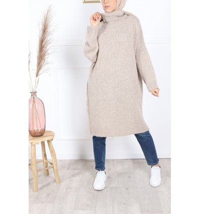 Pull winter col montant beige