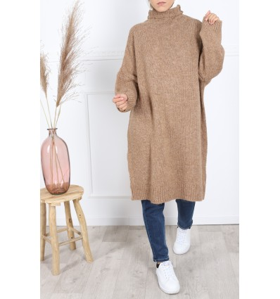 Pull winter col montant camel
