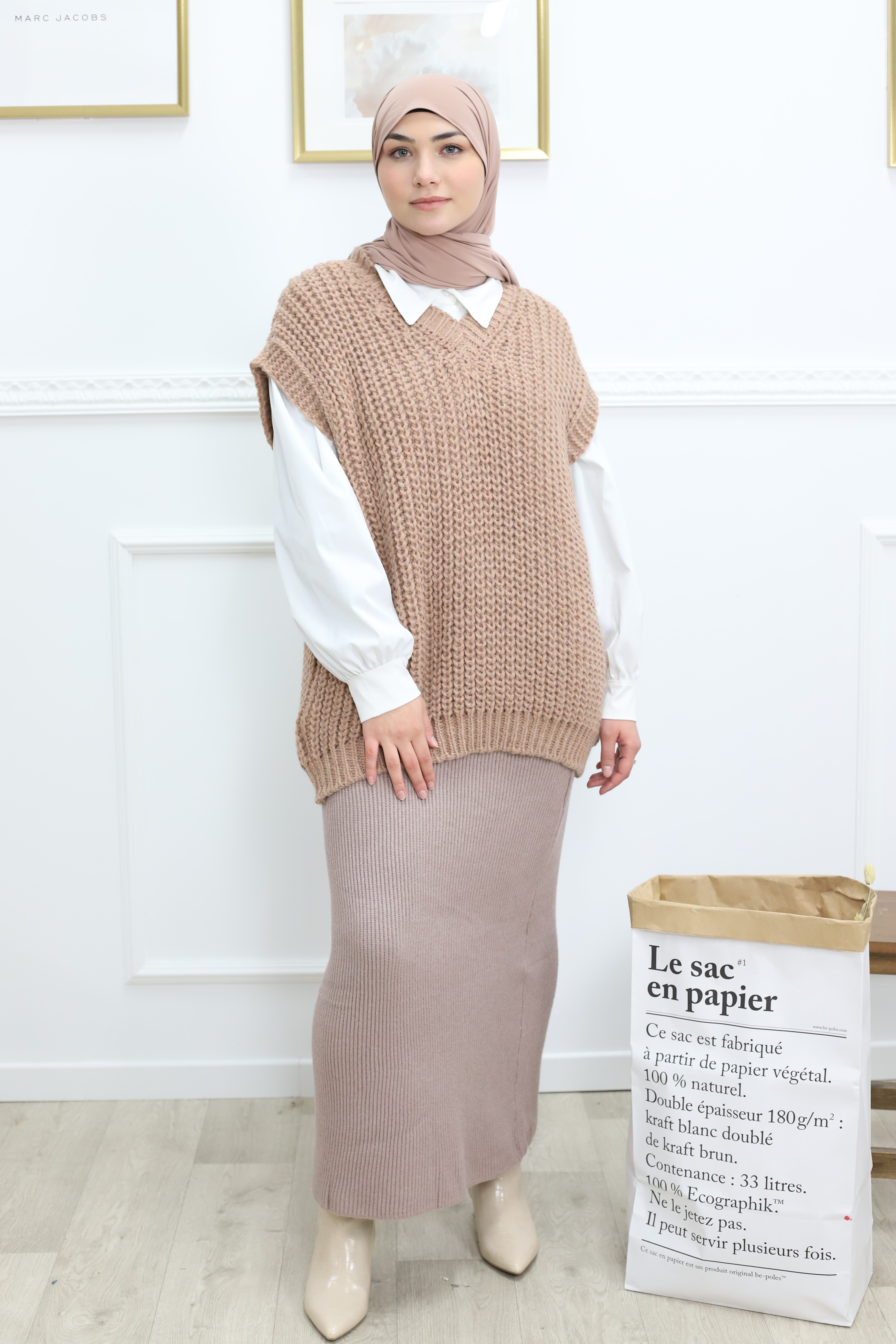 Pull sans manches rose
