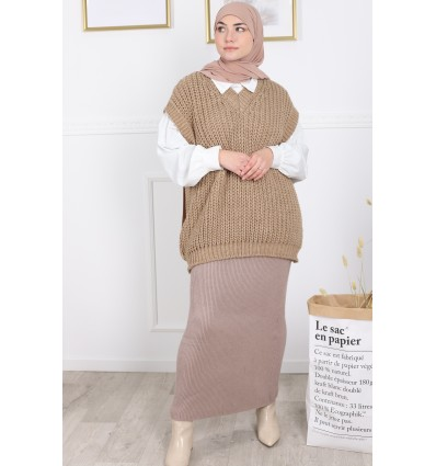 Pull sans manches camel