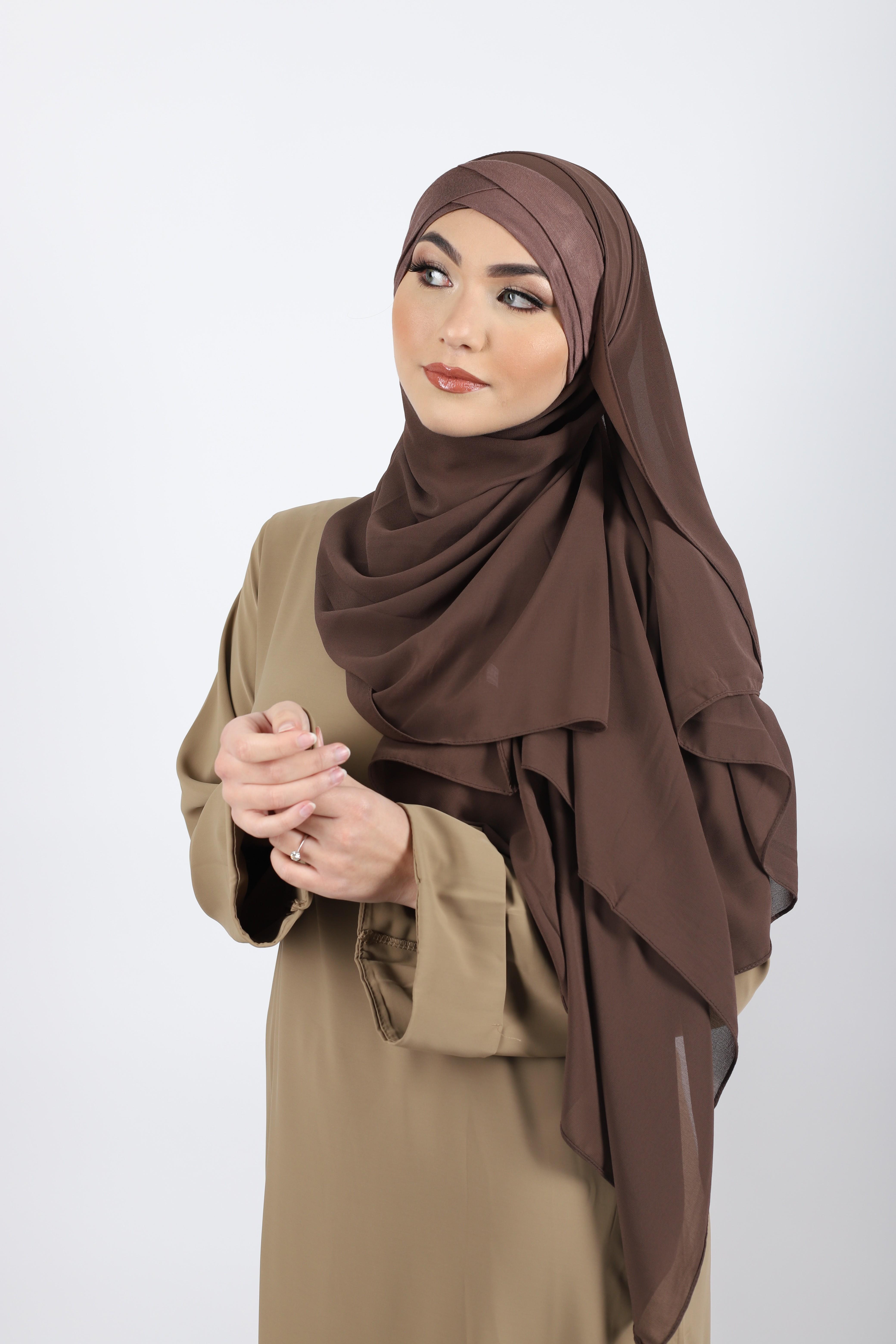Hijab a enfiler bonnet marron