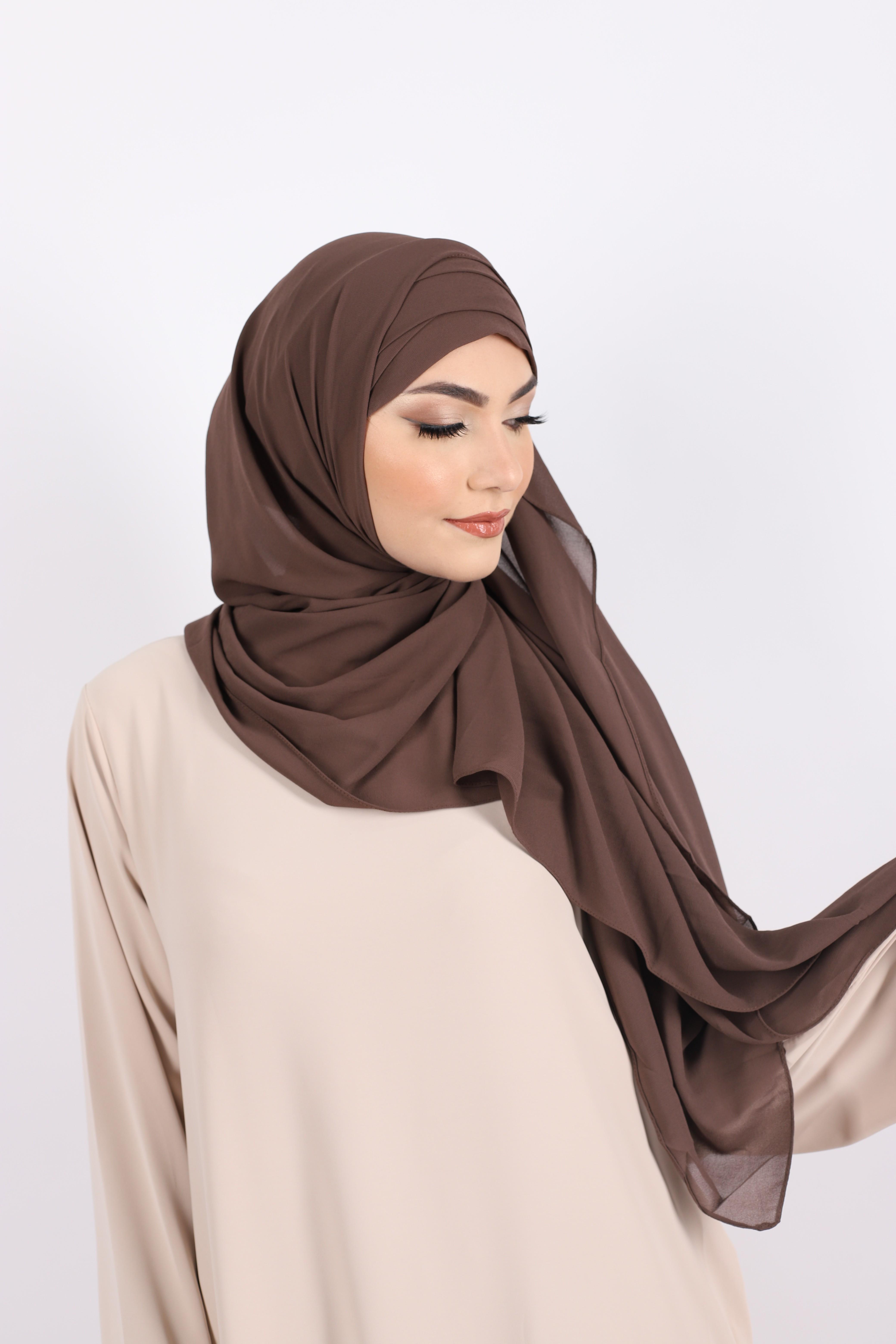 Hijab à enfiler mousseline marron