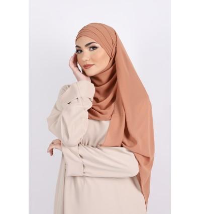 Hijab à enfiler mousseline abricot