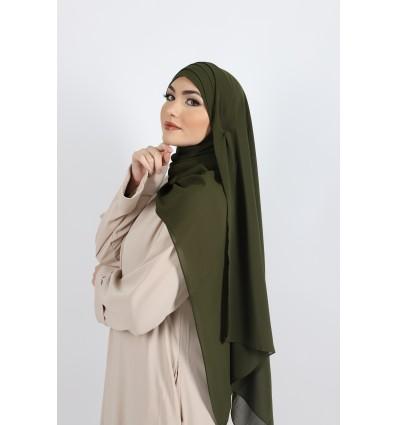 Hijab à enfiler mousseline olive