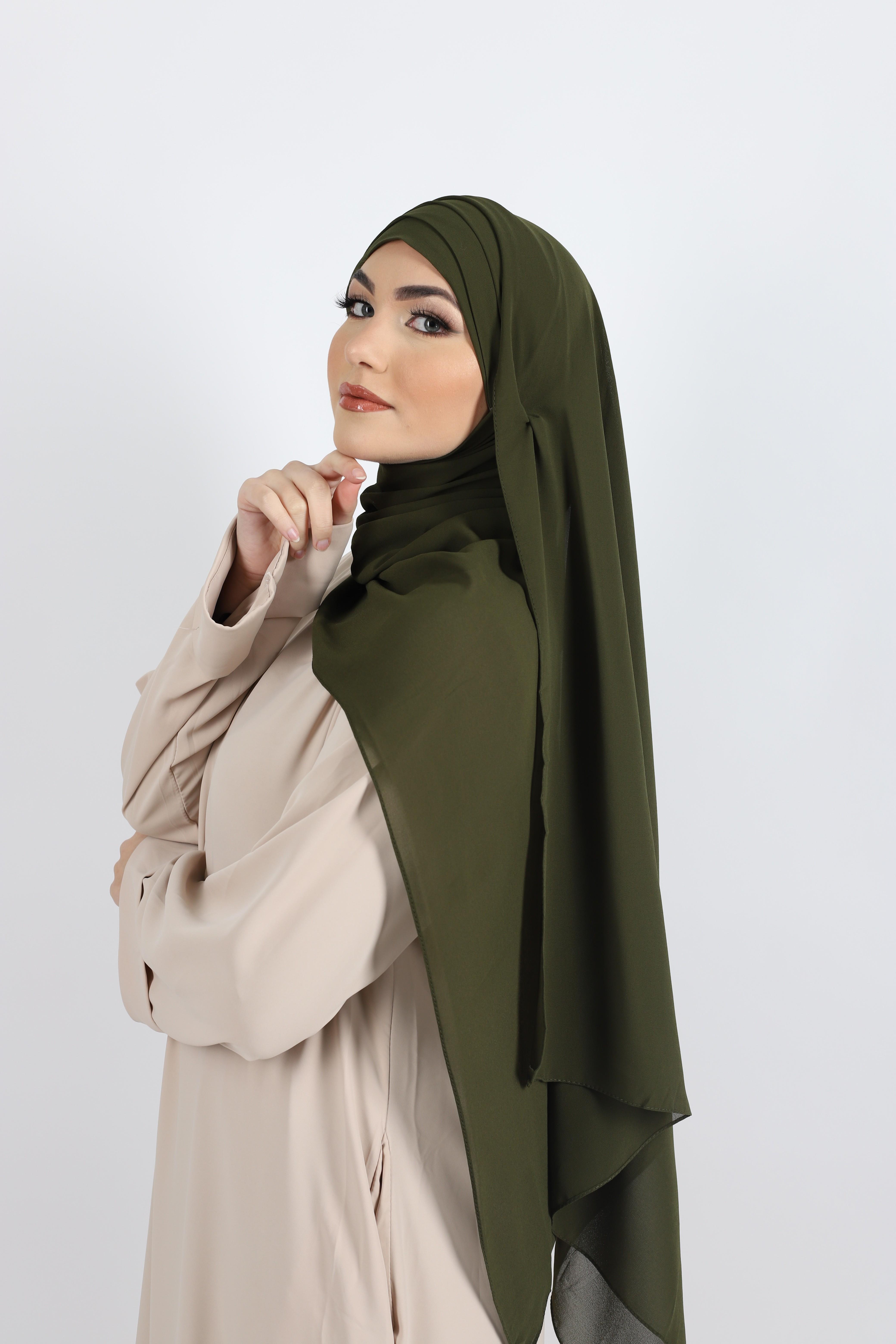 Hijab à enfiler mousseline kaki