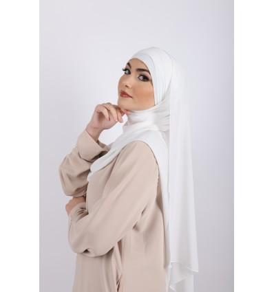 Hijab à enfiler mousseline blanc
