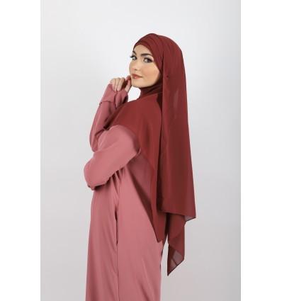 Hijab à enfiler mousseline framboise