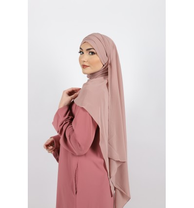Hijab à enfiler mousseline guimauve