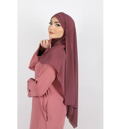 Hijab à enfiler mousseline prune