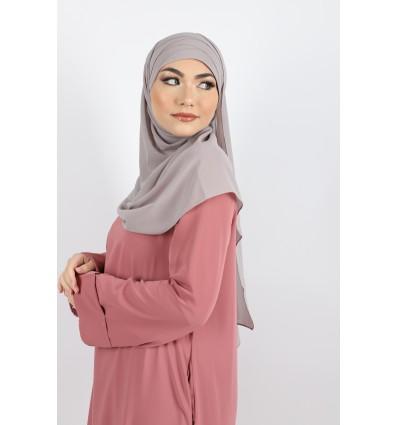 Hijab à enfiler mousseline gris