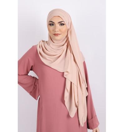 Hijab à enfiler mousseline nude