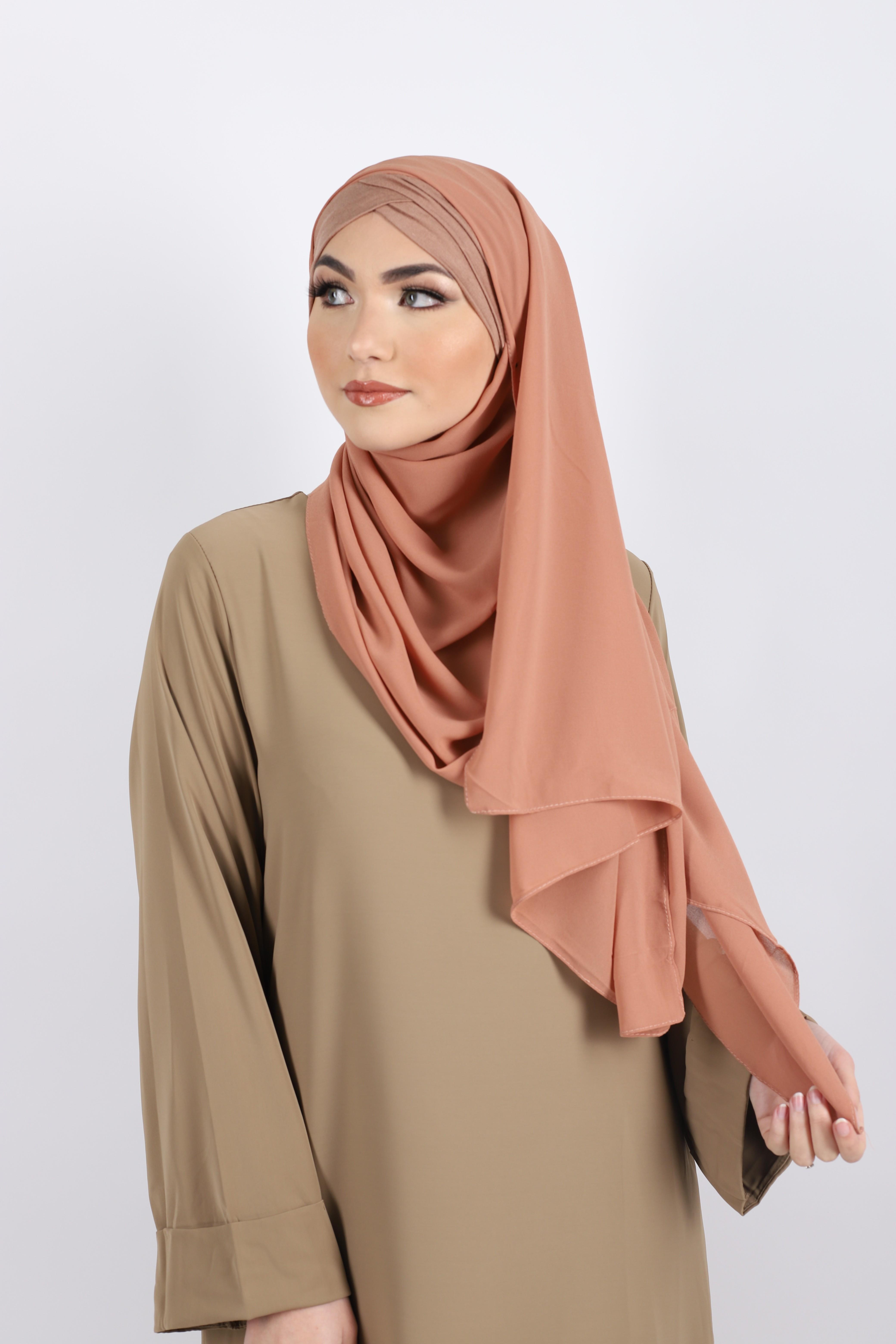 Hijab a enfiler bonnet abricot
