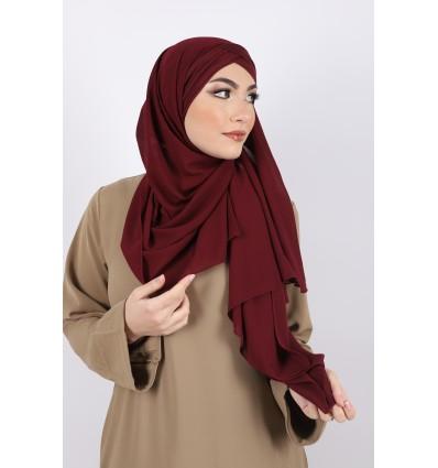 Hijab a enfiler bonnet bordeaux