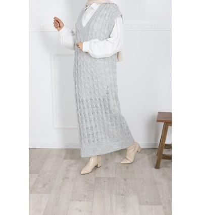 Robe torsadé gris