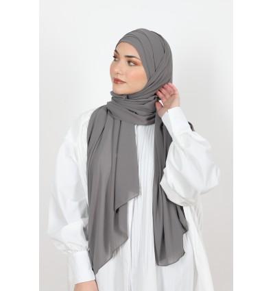 Hijab à enfiler mousseline gris foncé