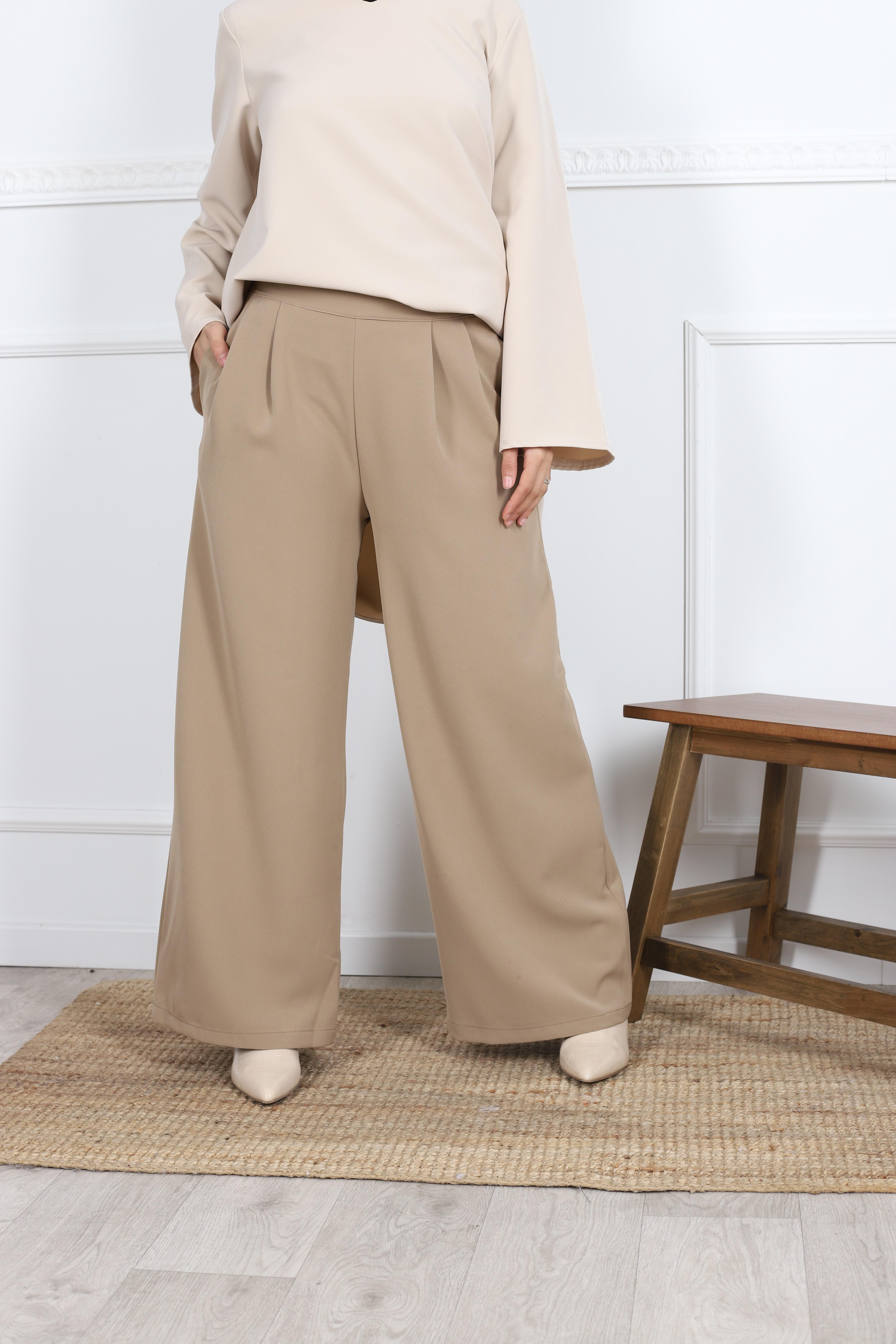 Pantalon large camel
