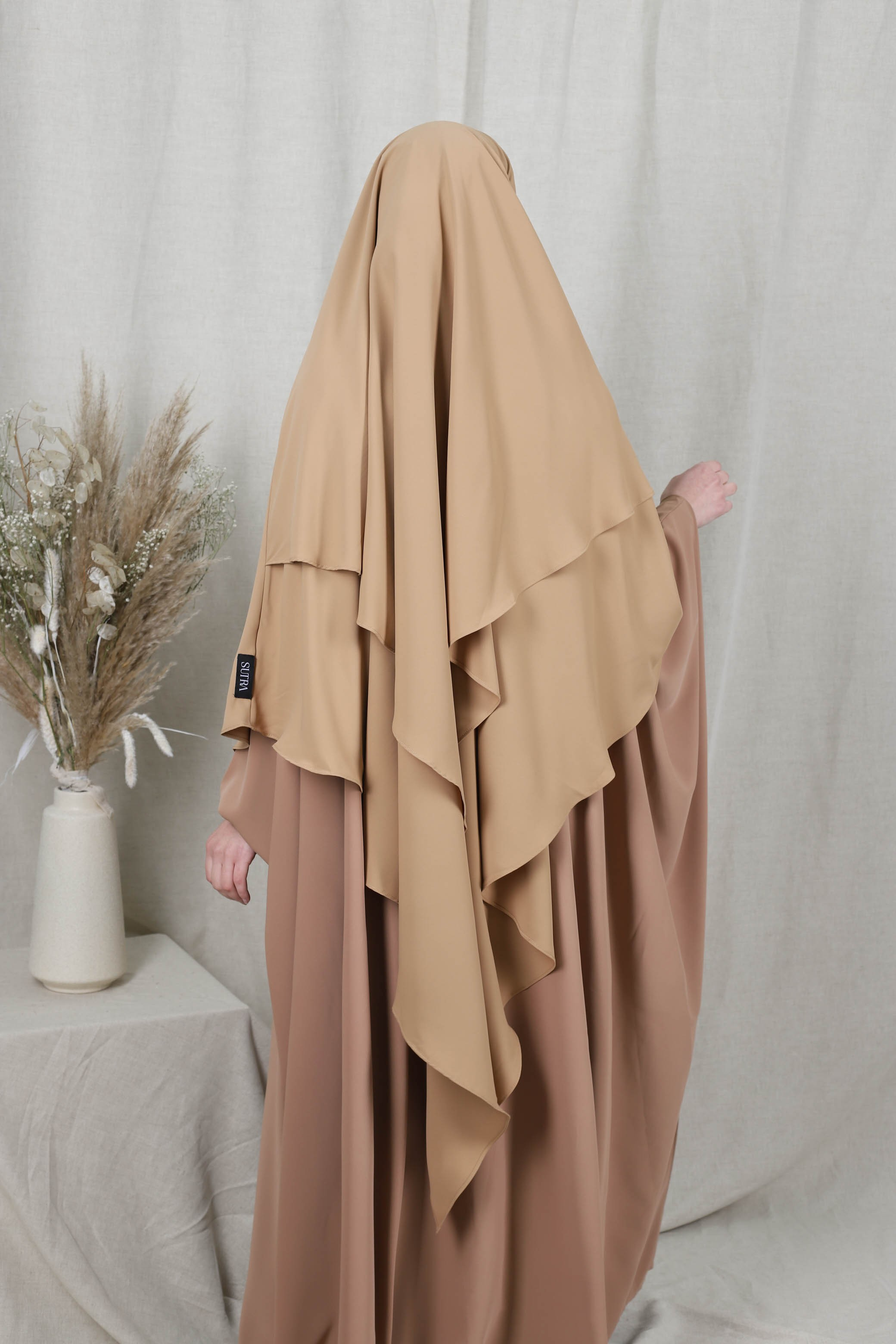 Khimar 2 voiles taupe