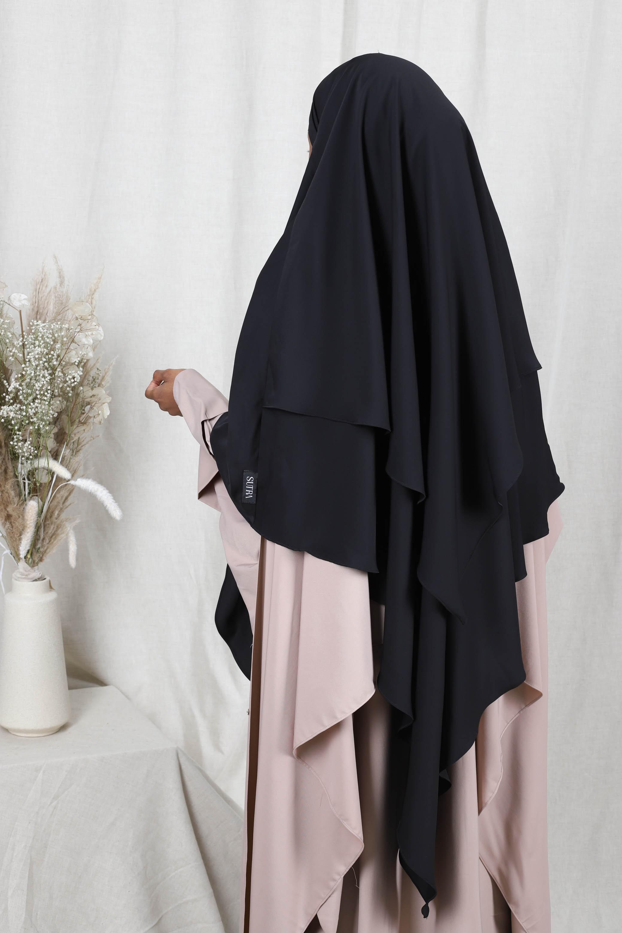 Khimar 2 voiles noir