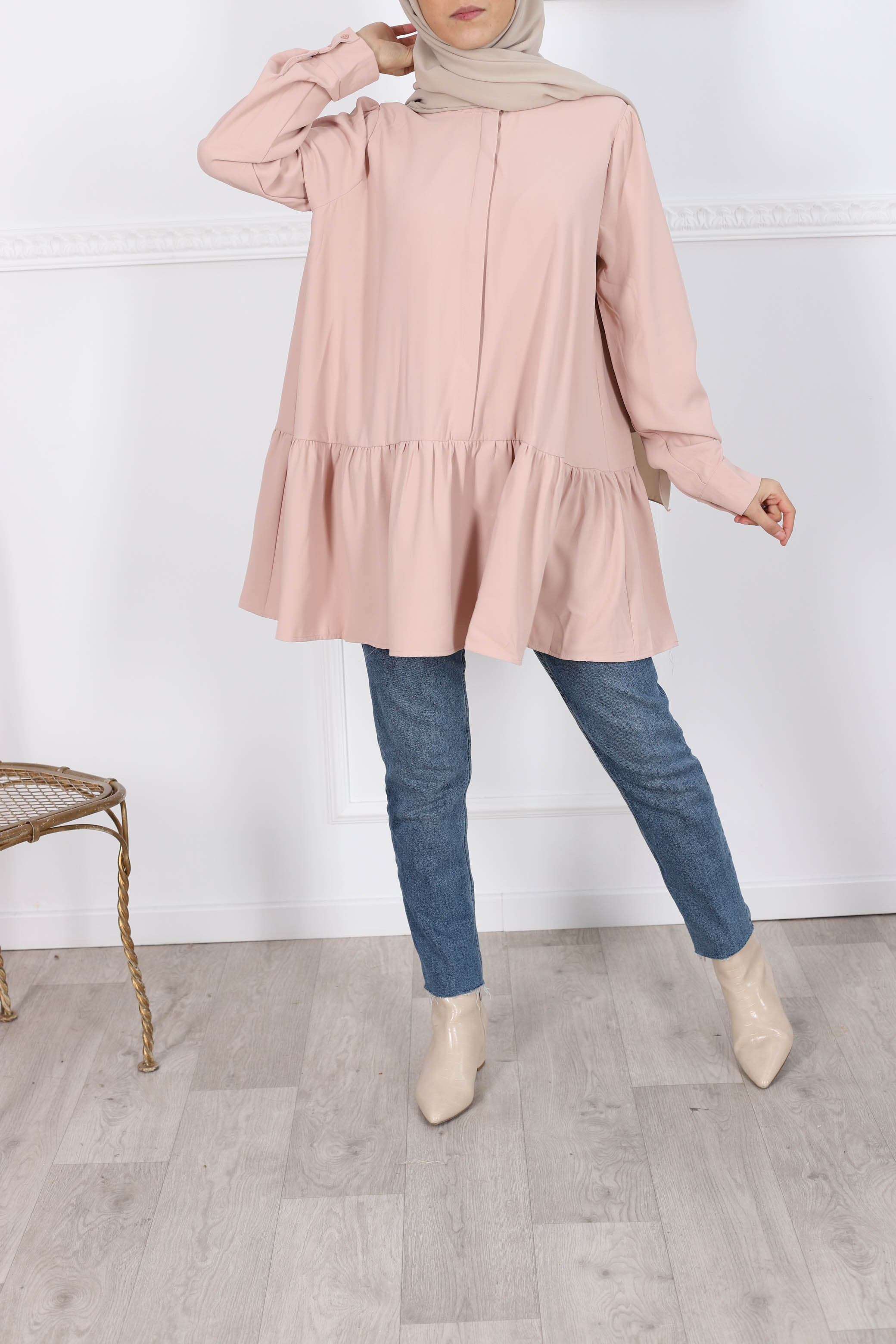 Blouse ample rose