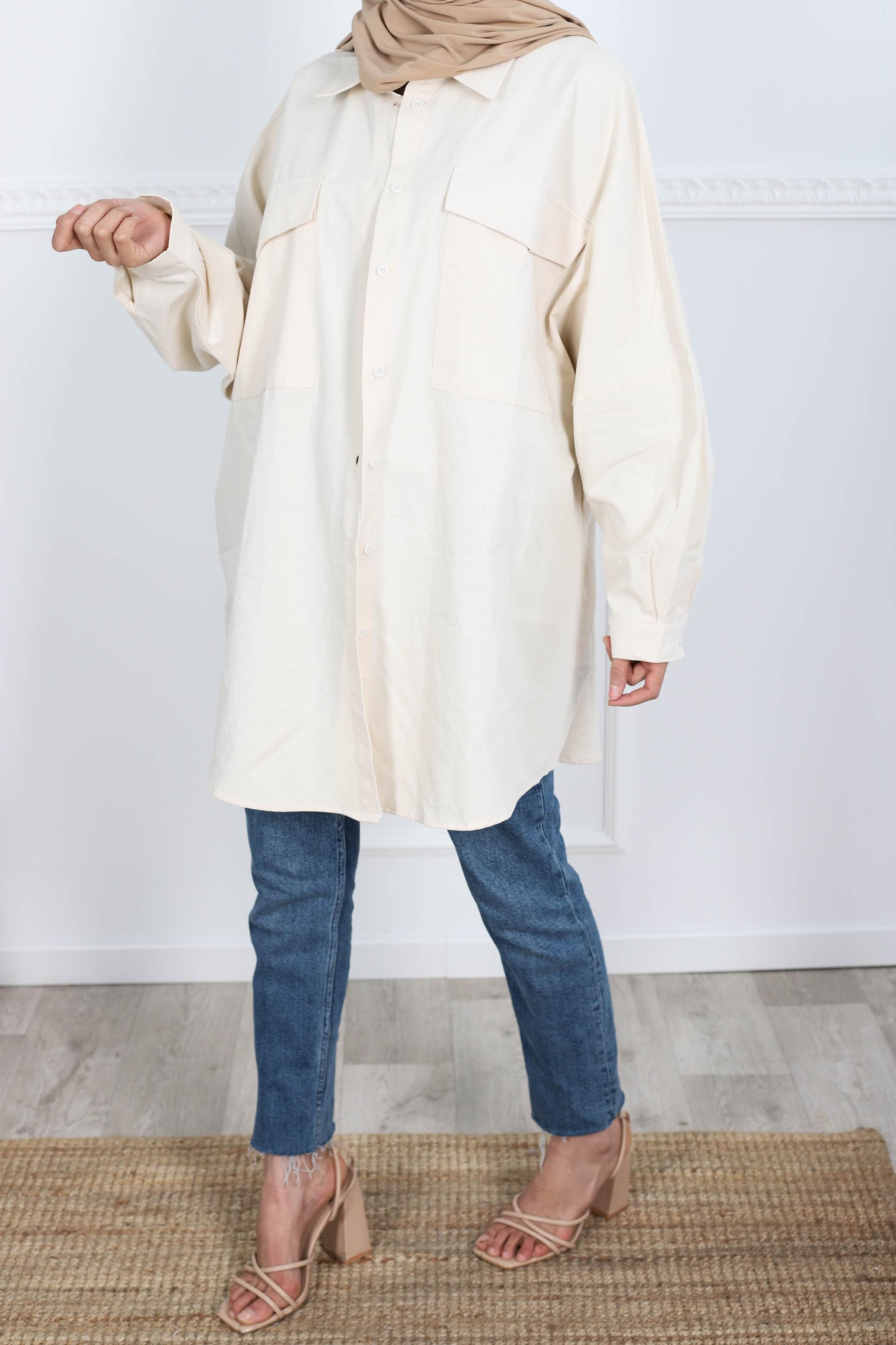 Surchemise en coton beige