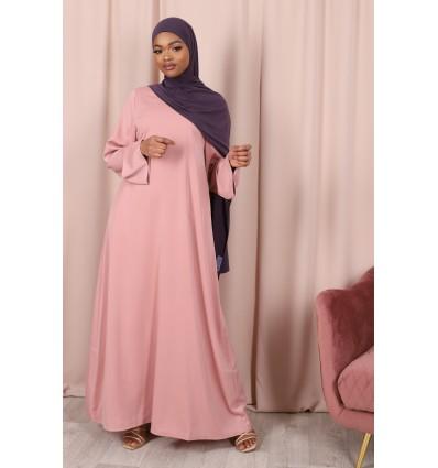 Abaya satin rose poudre