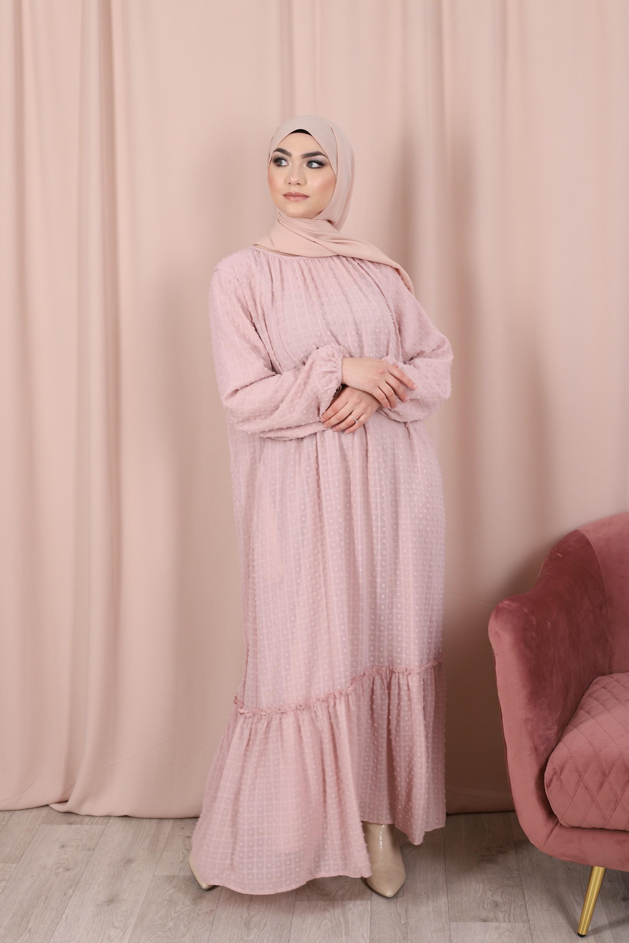 Robe plumetis rose poudré
