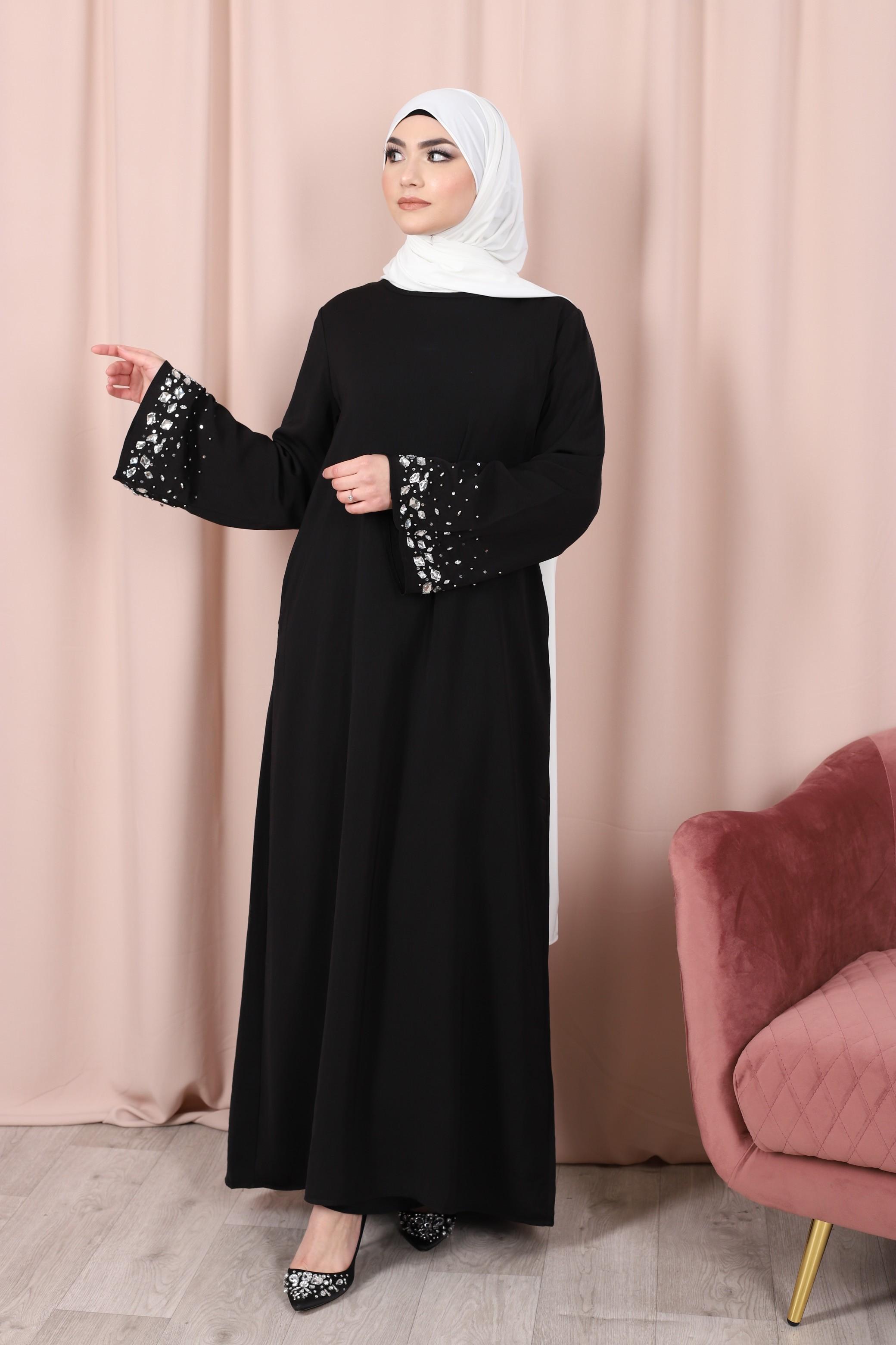 Abaya crystal noir