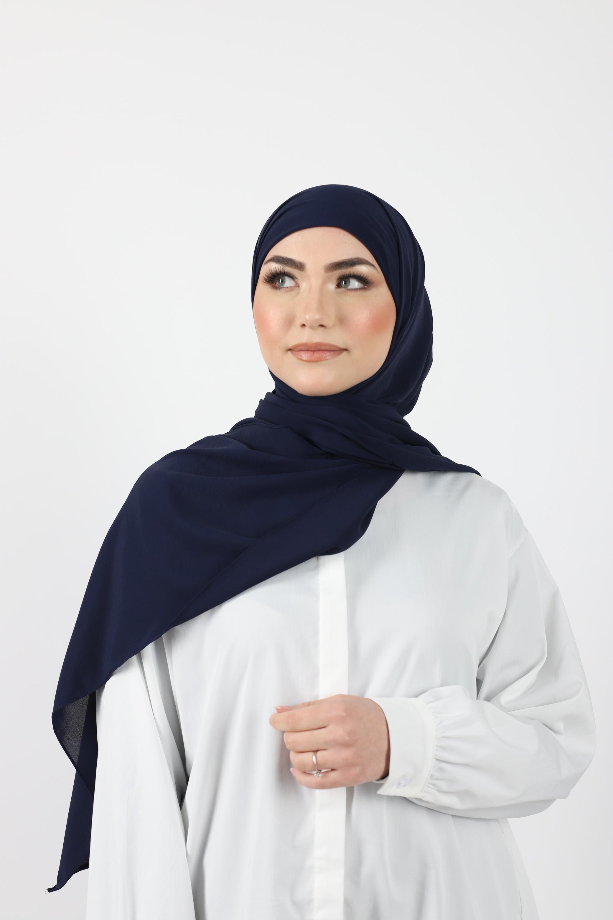 Hijab enfilable bleu marine