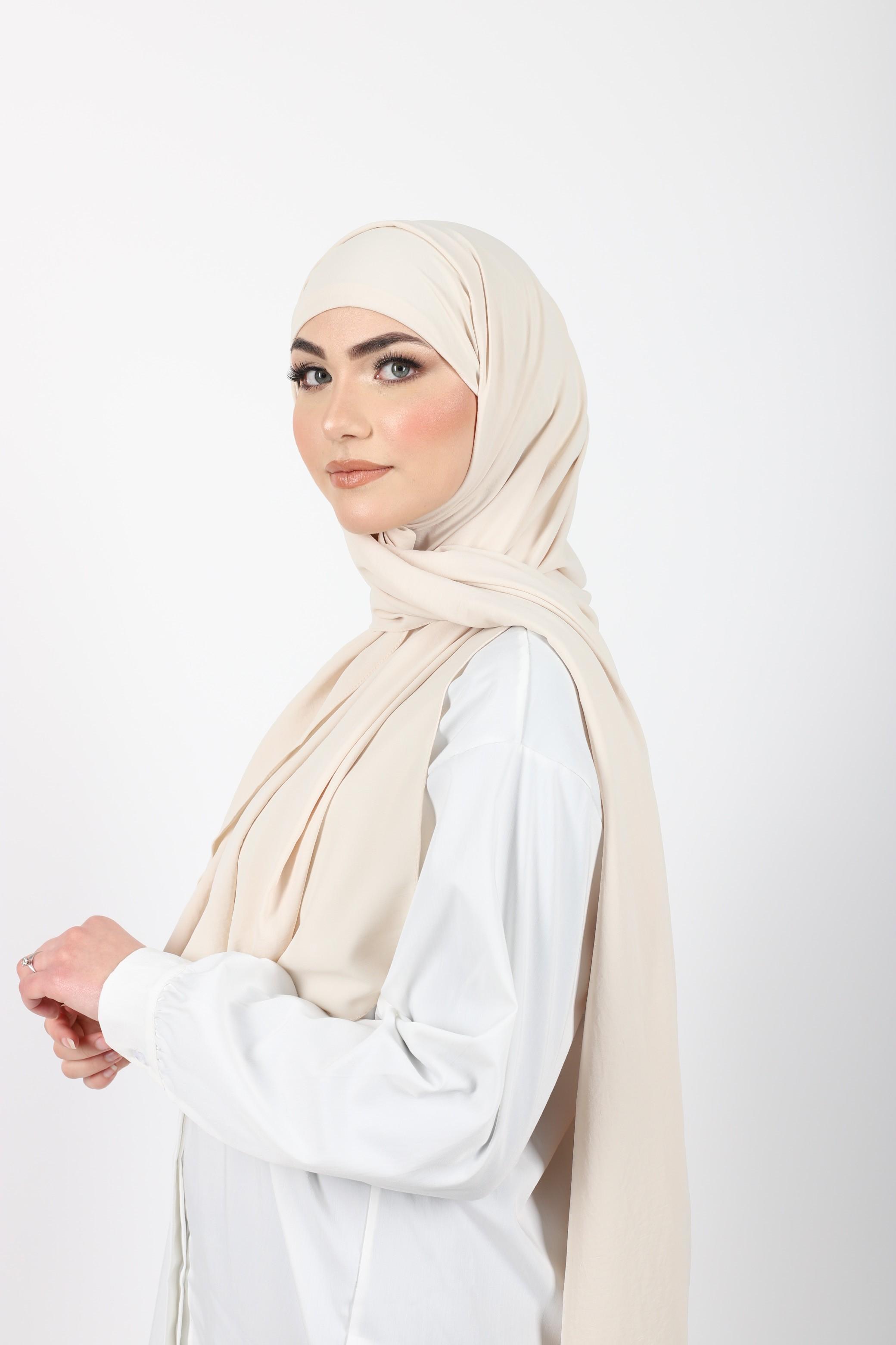 Hijab enfilable nude