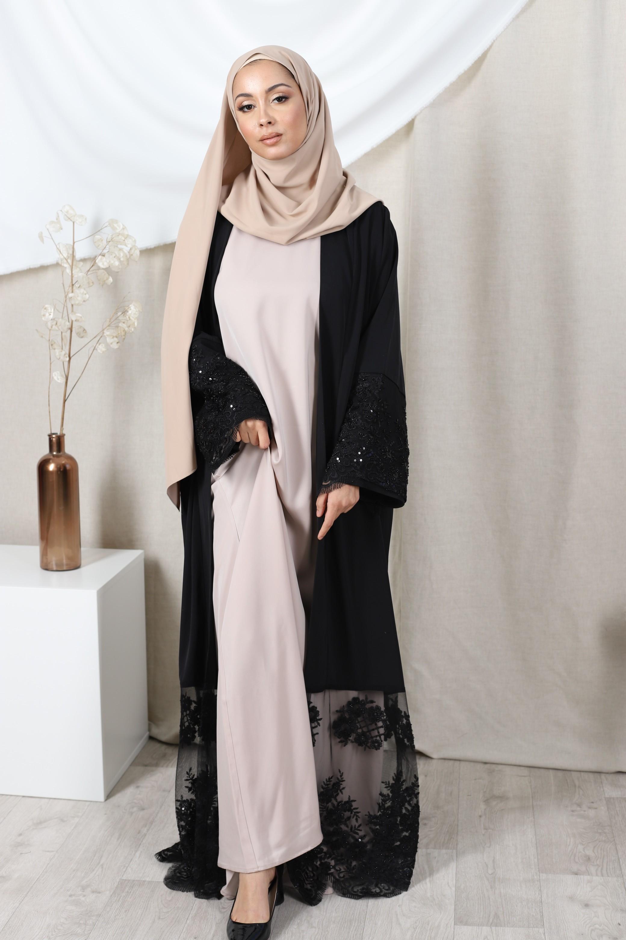 Abaya lace noir