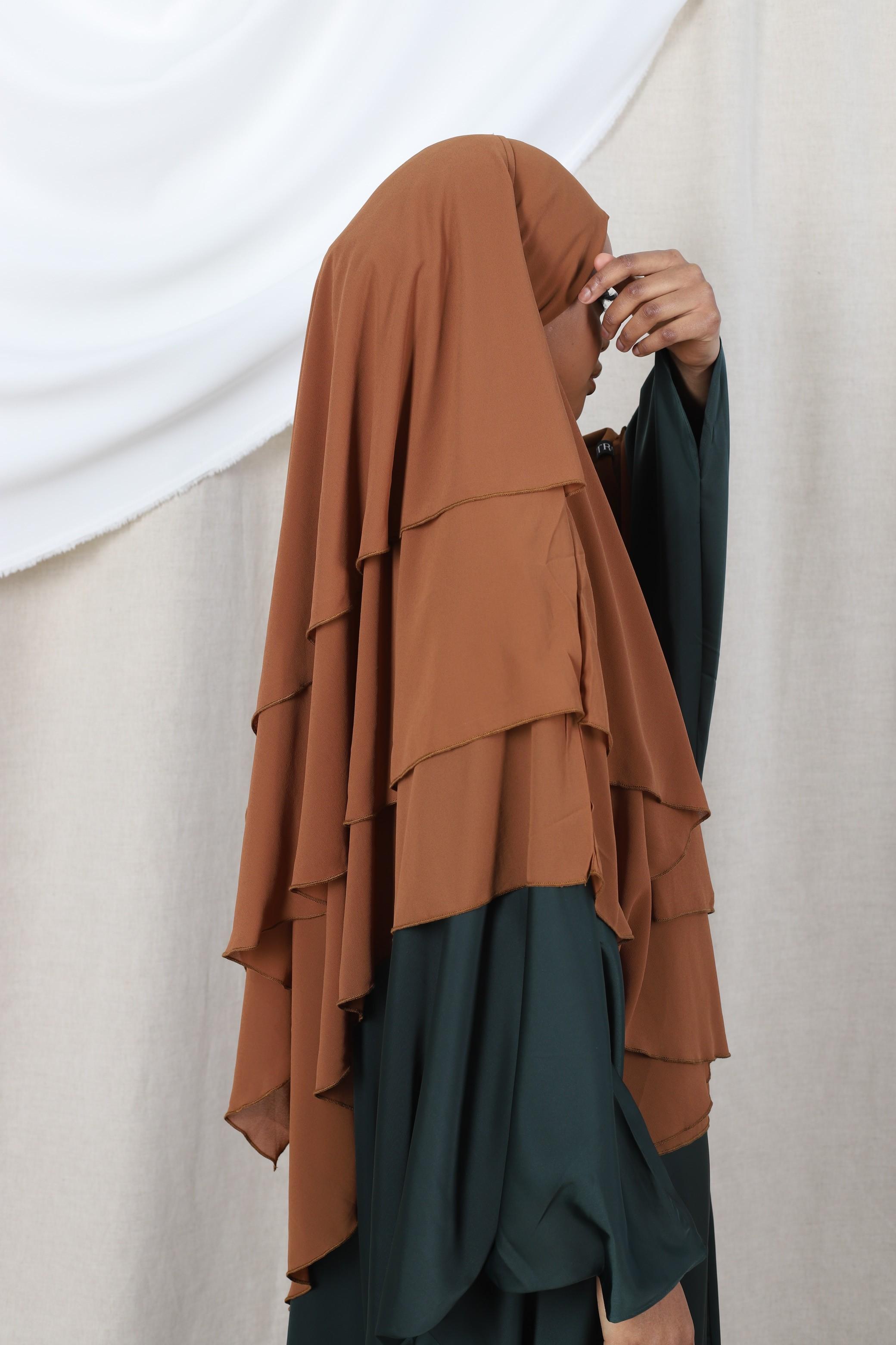 Khimar 3 voiles camel